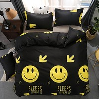 Cartoon Black Emoji Smiling Face 3/4pcs Bedding Sets