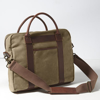 Signature Waxed Twill Briefcase: Bags | Free Shipping at L.L.Bean