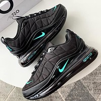 Bunchsun NIKE MAX-720-818 Trending Knit Line Shoe Plaid Shoes Sneakers Black + blue small hook