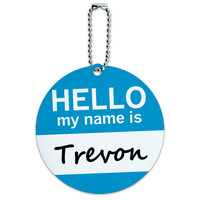 Trevon Hello My Name Is Round ID Card Luggage Tag