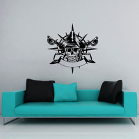 Wall Decal Vinyl Sticker Decals Art Home Decor Mural Pirate Skull Anchor Crossed Swords Children Kids Boys Room Fashion Bedroom Dorm AN521