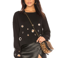 Black Orchid Cropped Sweatshirt With Eyelets in Black