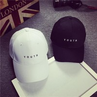 New Fashion Baseball Cap Lovers Hip Hop Cap For Men Women Embroidery Dad Hat Letter YOUTH Snapback Baseball Cap