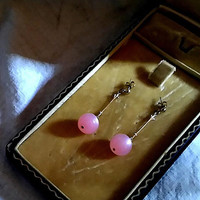 Dangle and Drop Gold Filled Pierced Post Push Back Stud Earrings with 2 inch Dangle Pink Thermostat 16mm Moon Glow Ball Fun Earrings