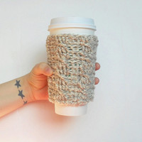 Cable Stitch Coffee Cozy in Natural Marl Wool, ready to ship.