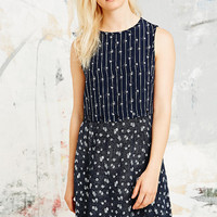 Cooperative Button-Waist Dress in Navy - Urban Outfitters