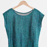 Vintage Sheer Blue Shimmer Tee | Urban Outfitters