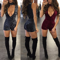 Short Rompers Womens Jumpsuit 2017 New Fashion Sexy V Neck Long Sleeve Bodysuit Nightclub Club Skinny Women Jumpsuit Playsuit