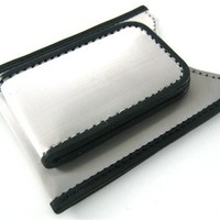 Stewart Stand Magnetic RFID Blocking Stainless Steel Money Clip Wallet with Black Leather Trim