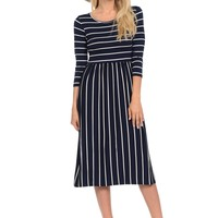 Fit and Flare Midi Dress with Pockets Striped