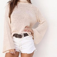 Lacy Lace Up Back Sweater