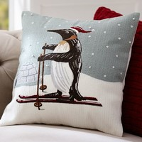 Penguin Crewel Pillow Cover