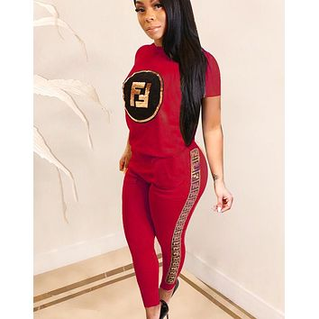 Fendi Fashion New Summer Letter Print Sports Leisure Top And Pants Two Piece Suit Women Red