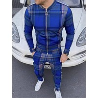 Fall 2020 New Hot-Selling Men's Fashion 3D Lattice Sports Jogging Slim Jacket, Street Fashion Hip-Hop Casual Zipper Jacket Suit