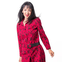 Vintage red fure wool dress 1950s - classic winter vintage dress - ooak vintage dress - fits like a medium size 8 - 10