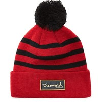 Diamond Supply Co Red Script Pom Beanie - Mens Hats - Red - One