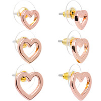 Lots of Love Rose Gold Tone Hollow Heart Stud Earring 3 Pair Set | Body Candy Body Jewelry