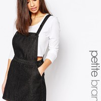 Boohoo Petite Denim Pinafore Dress at asos.com