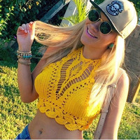 2015 Fashion Beach Summer Women Clothing Yellow Hollow Out Crop Top Sexy Casual Halter Tank Top Floral Crochet Tanks & Camis