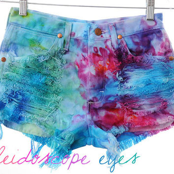Vintage Wrangler COLORFUL Marbled Dyed Denim High Waist Cut off Shorts XS S