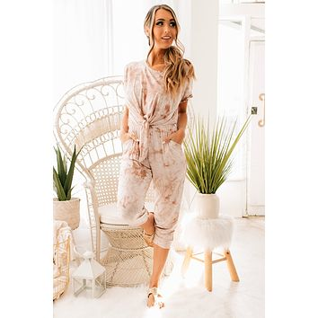 In My Element Tie Dye Tie Front Jumpsuit (Taupe)