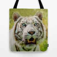 WHITE TIGER MAJESTY Tote Bag by Catspaws | Society6