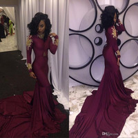 2017 Burgundy New South African Mermaid Prom Dresses Sexy High-neck Gold Appliques Ruffles Evening Dress Court Train PD320