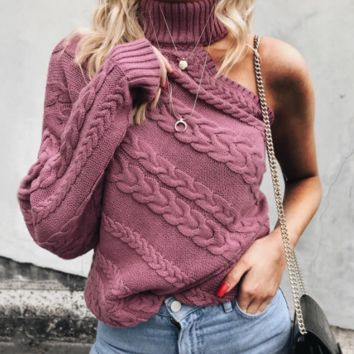 New style ladies off-the-shoulder single-sleeve twisted turtleneck sweater cross-border sale