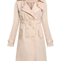 Plain Long-Sleeve Belted Trench Coat