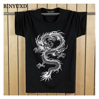 T-Shirt Man's 3D Cotton Funny Chinese Vintage Dragon Short Sleeve  Summer Style Slim  Brand Clothing Plus Size 5XL