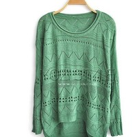 Cut Out Knitted Jumpers with High Low Hem FSMY01