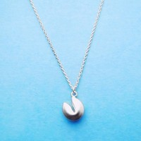 Fortune, Cookie, Silver, Necklace