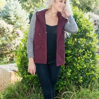 Wine Utility Jacket with Knit Sleeves