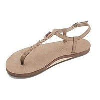 Women's T-Street Single Layer Leather Sandal in Dark Brown by Rainbow Sandals