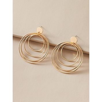 1pair Metallic Layered Circle Drop Earrings