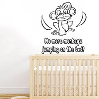 Wall Decals Vinyl Decal Sticker Children Boy Girl Kids Nursery Baby Room Bedding Interior Design Home Decor Monkey with Bananas Quote No More Monkeys Jumping on the Bed Kg885