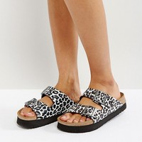 Papillio by Birkenstock Arizona Birko Leo White Platform Sandals at asos.com