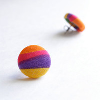 Orange, Pink, Purple, and Yellow Multi Colored Print Fabric Covered Button Earrings NICKEL FREE