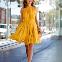 Yellow Pleated Drawstring Dress with Pocket