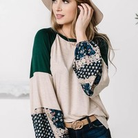 Bold Ivory & Green Design Printed Top