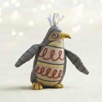 Tweed Penguin with Scroll Belly Ornament