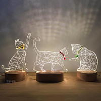 3D Solid Wood Gift Usb Night Light Gift Korean Style Home Tanabata Valentine's Day