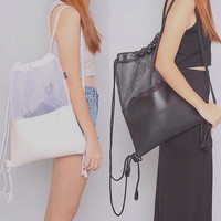 Black & White Leather Kit Bag Holographic Backpack Silver Hologram Rucksack Clear Transparent Shoulder Bag