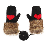 Black Fur Love Mitten Gloves