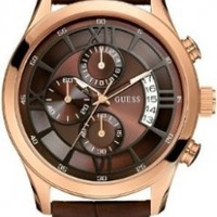 GUESS Men's U14504G1 Brown Genuine Leather Chronograph Watch with Brown Dial