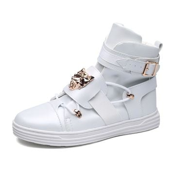 Mens Ankle Boots 100% Luxury Genuine Leather Hi Cut Sneakers