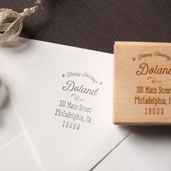 Customized Address Stamps - Christmas Return Address Stamp
