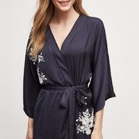 Eloise Lune Embroidered Robe in Navy Size: