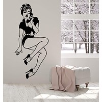 Vinyl Wall Deca Pin-Up Girl Style Sexy Retro Woman With Phone Stickers (2623ig)