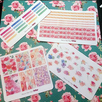 56 kiss cut and ready to peel off Watercolor Flower Theme Stickers! Perfect for your Erin Condren Life Planner, Filofax, Kikkik, Plum Paper